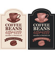 set labels for freshly roasted coffee beans vector image vector image