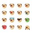 set of dog emoticon vector image vector image