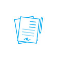 signed documents linear icon concept signed vector image vector image