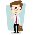 Smiling winking cartoon business man giving the vector image