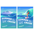 summer cruise posters with ship and surfer girl vector image vector image