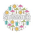 summer lettering with linear icons and vector image vector image