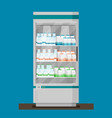 supermarket flat refrigerator with milk products vector image vector image