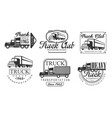 truck club retro labels set heavy transportation vector image vector image