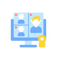 web conference flat color icon vector image vector image