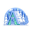 winter snow house forest scene in line art vector image vector image