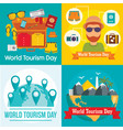 world tourism day travel banner set flat style vector image