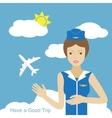 Stewardess woman smiling vector image