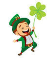 cartoon funny leprechaun with clover vector image