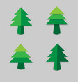 christmas tree green paper with shadow vector image