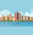 beautiful river city panorama high skyscrapers vector image