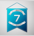 blue pennant with inscription seven years vector image