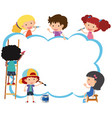 border template with happy kids painting vector image vector image
