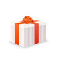 bright white gift box with red tape and bow on vector image