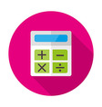 Calculator Flat Circle Icon with Shadow vector image vector image