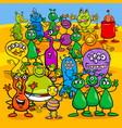 cartoon aliens fantasy characters group vector image