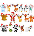 cartoon santa claus with many animals collection s vector image vector image