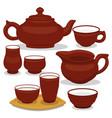 chinese tea utensils set isolated set on vector image