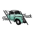 Color vintage car tow truck emblem vector image vector image