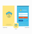company cloud dollar splash screen and login page vector image vector image