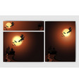 cool helloween background with witch full moon vector image vector image