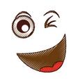 crazy emogy face kawaii character vector image