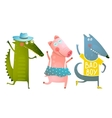 Cute Baby Animals Crocodile Pig Wolf Dancing vector image vector image