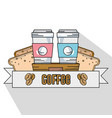 delicious coffee plastic cup and breads slice vector image vector image