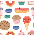 Desserts seamless pattern sweets and treats