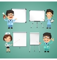 Doctors With Whiteboard Set vector image vector image