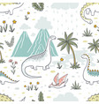 doodle dinosaur pattern seamless textile dragon vector image vector image
