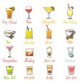 drinks alcoholic beverage and drinkable vector image vector image