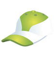 fashionable sports baseball cap green with white vector image