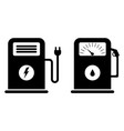 gas and electric charging station petrol station vector image