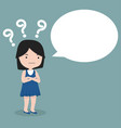 girl thinking with question mark vector image