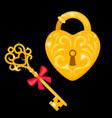 golden key and padlock vector image vector image