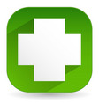 green cross icon with diagonal shadow - white vector image vector image