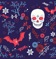 halloween seamless pattern with skull and bat vector image vector image