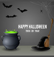 halloween set witch hat with cauldronbroomstick vector image