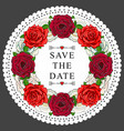 hand drawn rose save the date circle frame vector image vector image