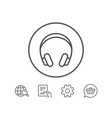 headphones line icon music listening sign