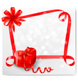 Holiday background with red heart-shaped gift box vector image