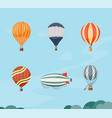hot air balloons and airship vector image vector image