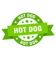 hot dog ribbon hot dog round green sign hot dog vector image vector image