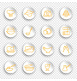 kitchen and cooking icons on stickers vector image