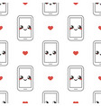 mobile phone emoticons with red hearts pattern vector image vector image