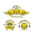 moto biker theme icon set cafe racer golden vector image vector image