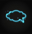 neon blue cloud speech bubble with space for text vector image