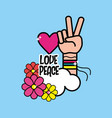 nice hippie symbol with hand of peace and love vector image vector image