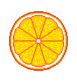 pixel orange fruit detailed isolated vector image